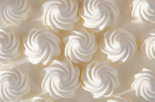 White Cream On Cake In The Sun. Background, Texture