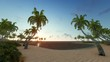 Amazing Sunrise over the tropical beach. Tranquil idyllic scene of a golden sunset over the sea. Airplane landing on the island. Three dimensional rendering 3D animation.