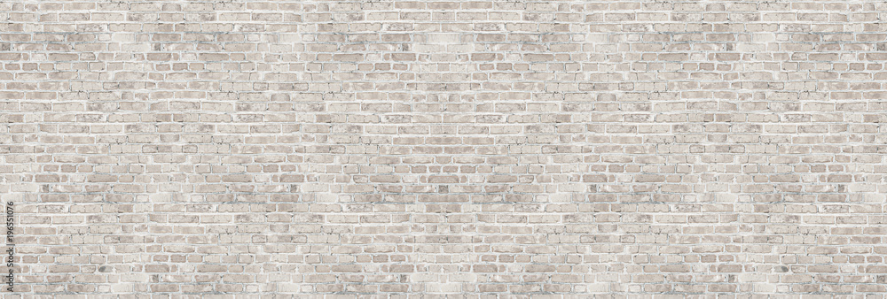 Fototapety, obrazy: Vintage white wash brick wall texture for design. Panoramic background for your text or image.