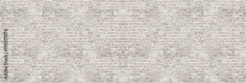 Door stickers Wall Vintage white wash brick wall texture for design. Panoramic background for your text or image.