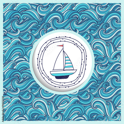 Background With Waves And Yacht Template Greeting Card Or