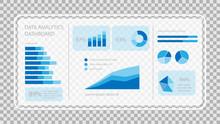 Virtual Screen Showing Data Analytics Statistics Chart Dashboard, Vector Illustration