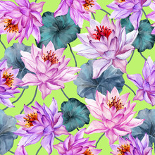 Exotic Floral Seamless Pattern. Large Pink Lotus Flowers With Stems And Leaves On Bright Green Background. Hand Drawn Illustration. Watercolor Painting.