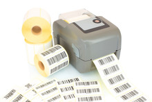 White Label Rolls, Printed Barcodes And Printer Isolated On White Background With Shadow Reflection. White Reels Of Labels With Printer. Labels For Direct Thermal Or Thermal Transfer Printing.
