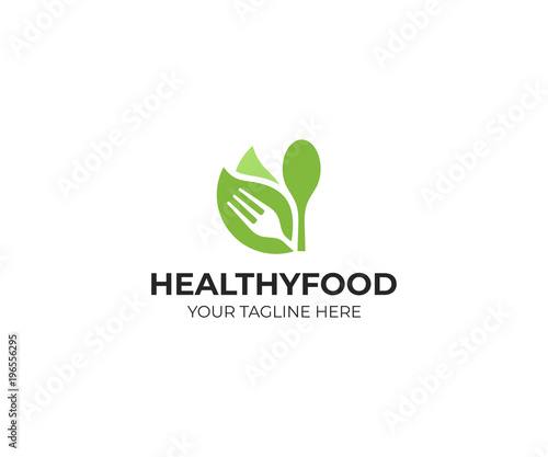Fototapeta Healthy food logo template. Organic food vector design. Fork, spoon and leaves logotype obraz