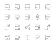 Simple Set Of Database Related Vector Line Web Icons. Contains Such Icons As Synchronization, Download Database, Backup, Data Transfer, Scale And More. Editable Stroke. 48x48 Pixel Perfect.