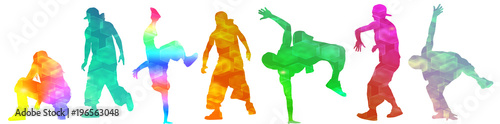 Dancing street dance silhouettes in urban style