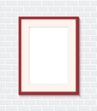 Red Frame On A Brick Wall