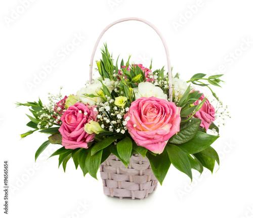 Foto op Canvas Madeliefjes Pink roses basket