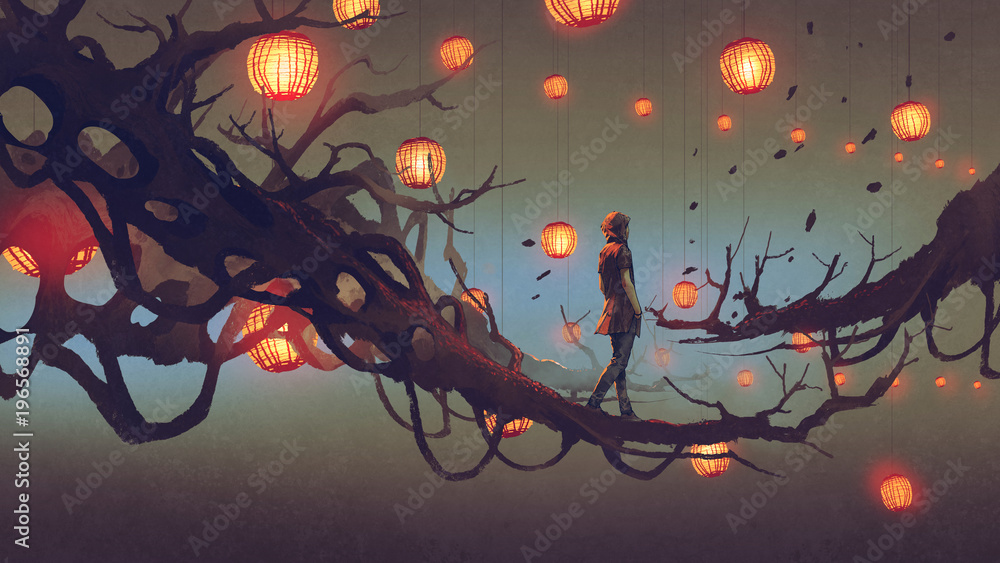 Fototapety, obrazy: man walking on a tree branch with many red lanterns on background, digital art style, illustration painting