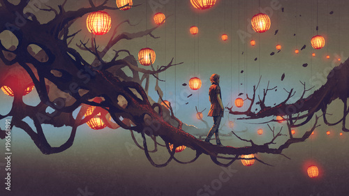 Printed kitchen splashbacks Grandfailure man walking on a tree branch with many red lanterns on background, digital art style, illustration painting