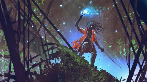 Naklejka premium pirat szuka z niebieską latarką w ciemnym lesie, cyfrowym stylu sztuki, malarstwa ilustracyjnego