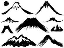 山 噴火 墨 毛筆イラスト