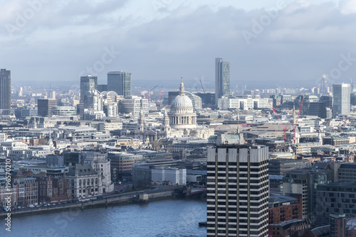 Fotografie, Obraz  Aerial view of St Paul's Cathedral and the City of London