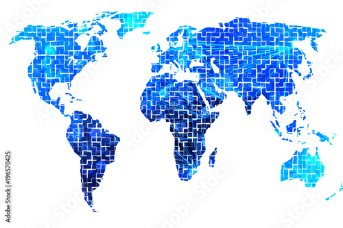 The digital world map with all continents visible – kaufen Sie se on