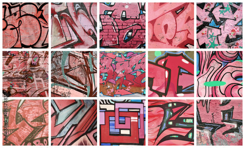 A set of many small fragments of graffiti drawings. Street art abstract background collage in red colors