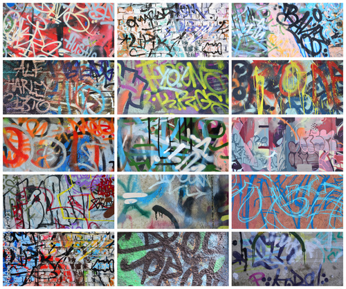Deurstickers Graffiti collage A set of many small fragments of tagged walls. Graffiti vandalism abstract background collage