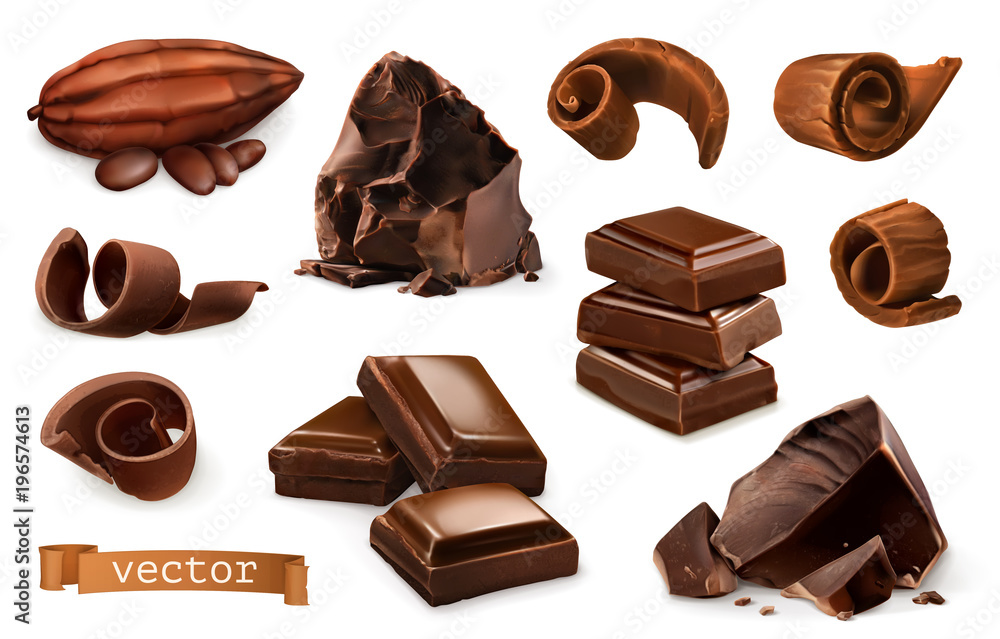 Fototapety, obrazy: Chocolate. Pieces, shavings, cocoa fruit. 3d realistic vector icon set