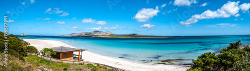 Panoramic landscape of the beach of Stintino Wallpaper Mural