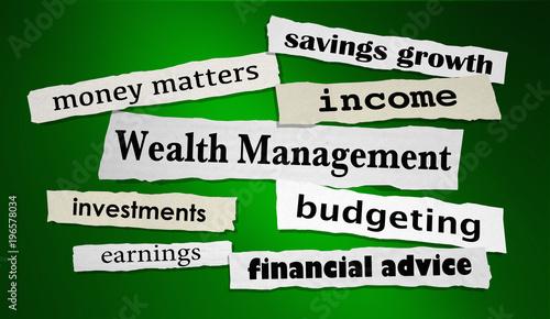 Fotografía  Wealth Management Newspaper Headlines Financial Investing 3d Illustration
