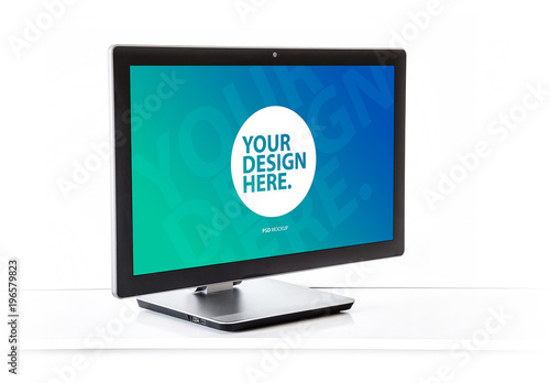 Desktop Computer Mockup on White Background. Buy this stock template ...