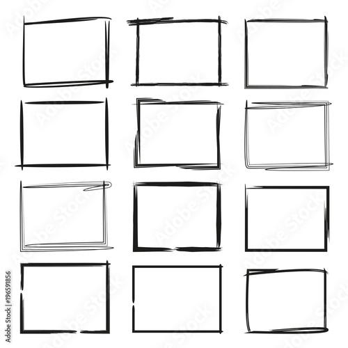 Obraz na plátně black grunge rectangle frame, border set