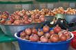 Organic pomegranates on oriental streen market