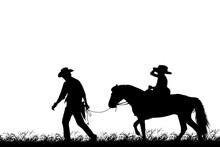 Silhouette Cowboy And Girl Ri...