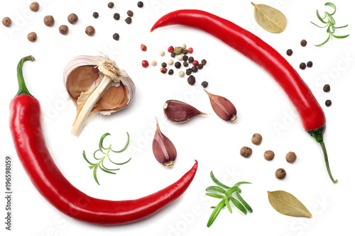 red hot chili peppers with garlic isolated on white background top view Poster