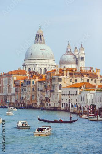 Poster Venice Basilica Santa Maria della Salute, Venice, Italy. Landscape Grand Canal with gondolas and boats.