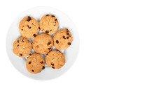 Pile Of Chocolate Chip Cookies On A Dish Isolated On White Background. Copy Space, Template
