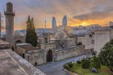 Panoramic View Of Baku City, Capital Of Azerbaijan, At Sunset