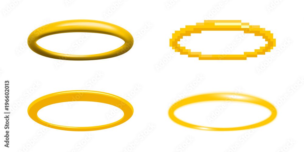 Fototapety, obrazy: Golden halo vector illustration in four different styles angel ring design element nimbus, aureole, glory, or gloriole set