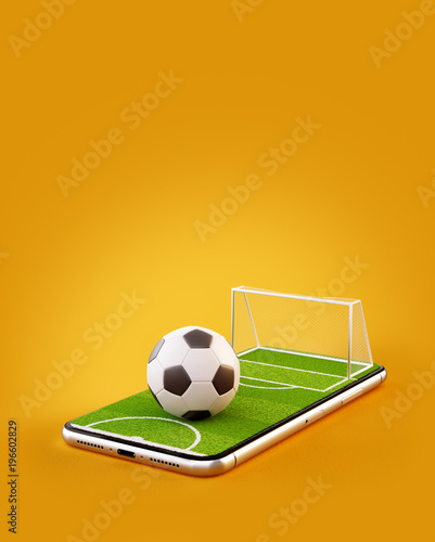Foto Unusual 3d illustration of a soccer field and soccer ball on a smartphone screen