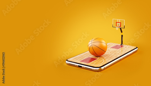 Fotografie, Tablou  Unusual 3d illustration of a basketball ball on court on a smartphone screen