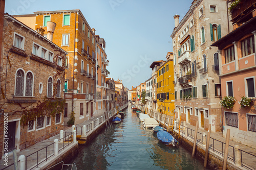 Printed kitchen splashbacks Channel Venice, beautiful romantic italian city on sea with great canal and gondolas. View of venetian narrow canal. Venice is a popular tourist destination of Europe.