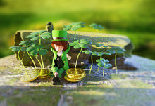 The Saint Patrick's Day Symbol,3d Rendering Illustration, A Leprechaun Sleep On The Mossy Ground Surrounded By The Shamrock And Gold Coins With The Green Blurry Background.