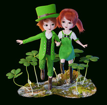 The Saint Patrick's Day Symbol,3d Rendering Illustration, Leprechaun Boy And Girl Dancing On The Mossy Ground With Shamrock Plants On The Background Isolated On Black.