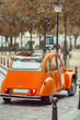View of an old iconic retro car in Montmartre in Paris.