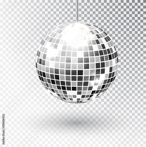 Mirror glitter disco ball vector illustration. Night Club party light element. Bright mirror silver ball design for disco dance club. Vector - 196606432