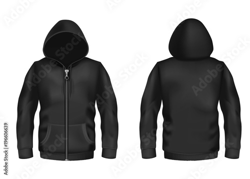Vector realistic black hoodie with zipper, with long sleeves and pockets, casual unisex model, sportswear, sweatshirt with hood isolated on background Plakát