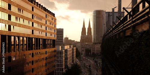 Fotografía  Cologne Cathedral Sunset Skyline