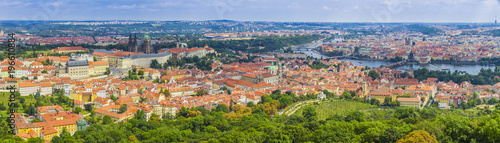 In de dag Centraal Europa Aerial view of the Old Town and Charles Bridge over Vltava river in Prague,