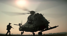 Abstract, Blurry, Bokeh Background, Image For The Background. Soldier Boarding A Military Helicopter.