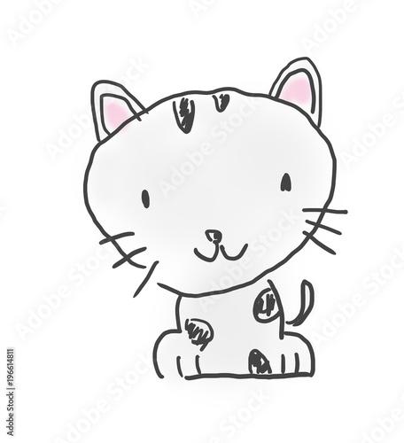猫ちゃんかわいいゆるい動物キャラ子供の落書き風イラスト Adobe