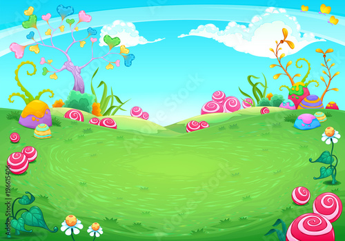 Door stickers Light blue Landscape with fantasy natural elements
