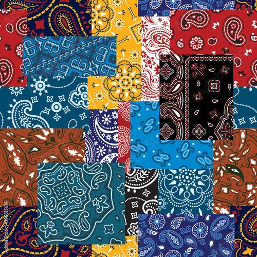 Fotografie, Obraz Bandana paisley fabric patchwork vector seamless pattern