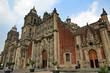 The front facade of the Metropolitan Cathedral (Catedral Metropolitana) in Mexico City Zocalo Square