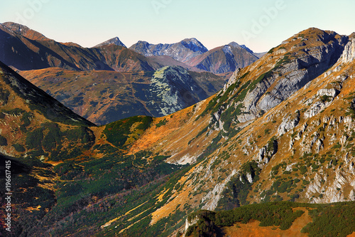 Poland, Tatra Mountains, Zakopane - Czerwone Wierchy, Stoly and Ciemniak peaks, Tomanowa Pass and Tomanowa Liptowska Valley with Western Tatra mountain range panorama in background