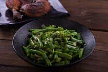 Stir Fry Green Beans On Black ...